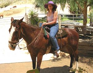 Cynthia riding Shaman